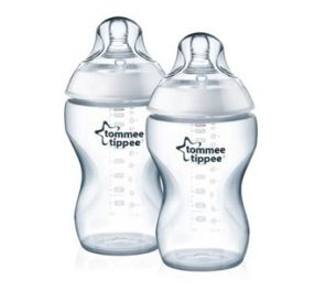 "Tommee Tippee זוג בקבוקי האכלה צבע שקוף 340 מ""ל"